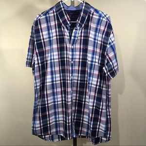 Tommy Hilfiger Plaid Button Short Sleeve Shirt
